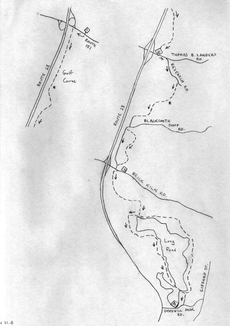 Falmouth Long Pond Sketch Map Long Walks On Cape Cod